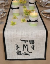 Monogrammed Table Runner from Decorate with Burlap!