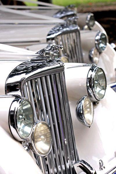 Classic cream car details, Mark V Jaguar