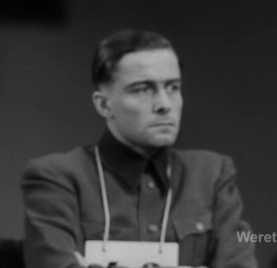 Joachim Peiper as defendant at the Malmedy massacre trial (May-July 1946)