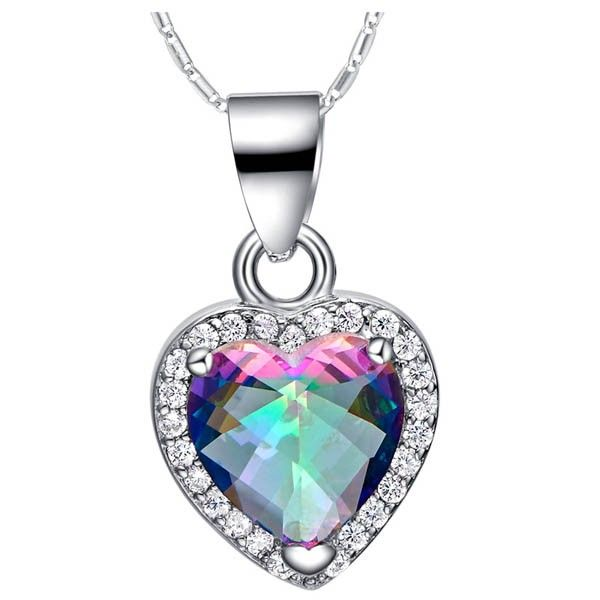 This item is a Silver Plating Colorful Heart Shape Gemstone Pendant. According to your own personal preferences, you can match it with beautiful clothes in different seasons. The following occasions, anniversary, engagement, party, wedding, etc. are propitious to wear it.