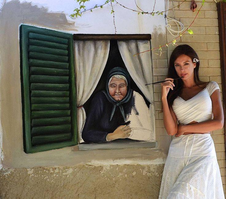 """Mi piace"": 112, commenti: 8 - Viola Vistosu Villani (@violavistosu) su Instagram: ""•Juanicca• coming soon #murales #sardiniangirl #donnesarde #mujeres #mullere #acrilic #brush #wall…"""