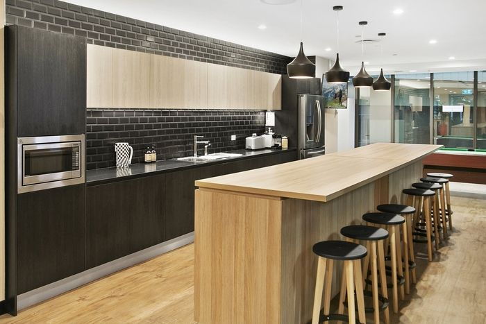 Nude by Nature Offices - Sydney - Office Snapshots Stylish modern office kitchen in polytec Natural Oak, Black Wenge and Bleached Walnut Ravine