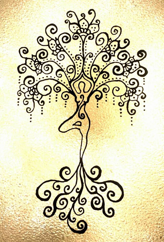 Yoga art. Tree pose. Glass painting. Henna inspired. Chantelle Monique Art. Chantellified