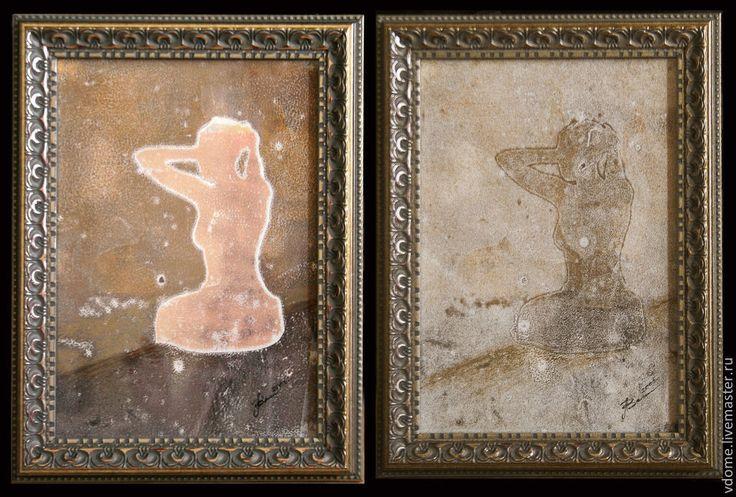 Купить картины арт графика диптих: созерцание - подарок, картина, оформление, красивый, необычный, бежевый