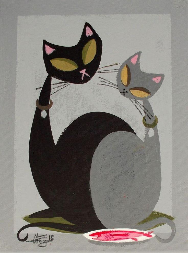 EL GATO GOMEZ PAINTING RETRO 1950S 60S MID CENTURY MODERN EAMES CATS KITSCHY MOD…