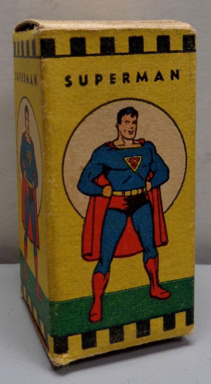 DC Comics,Adventures of SUPERMAN, 1940s,Acme Plastics Co. Film Strip in Original Box, Series #7 Jerry Siegel & Joe Shuster,Action Comics