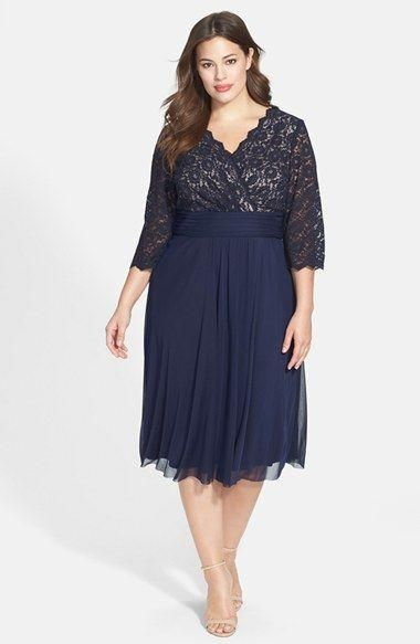 Dark Navy Plus Size Mother Bride Dresses Sleeves Lace