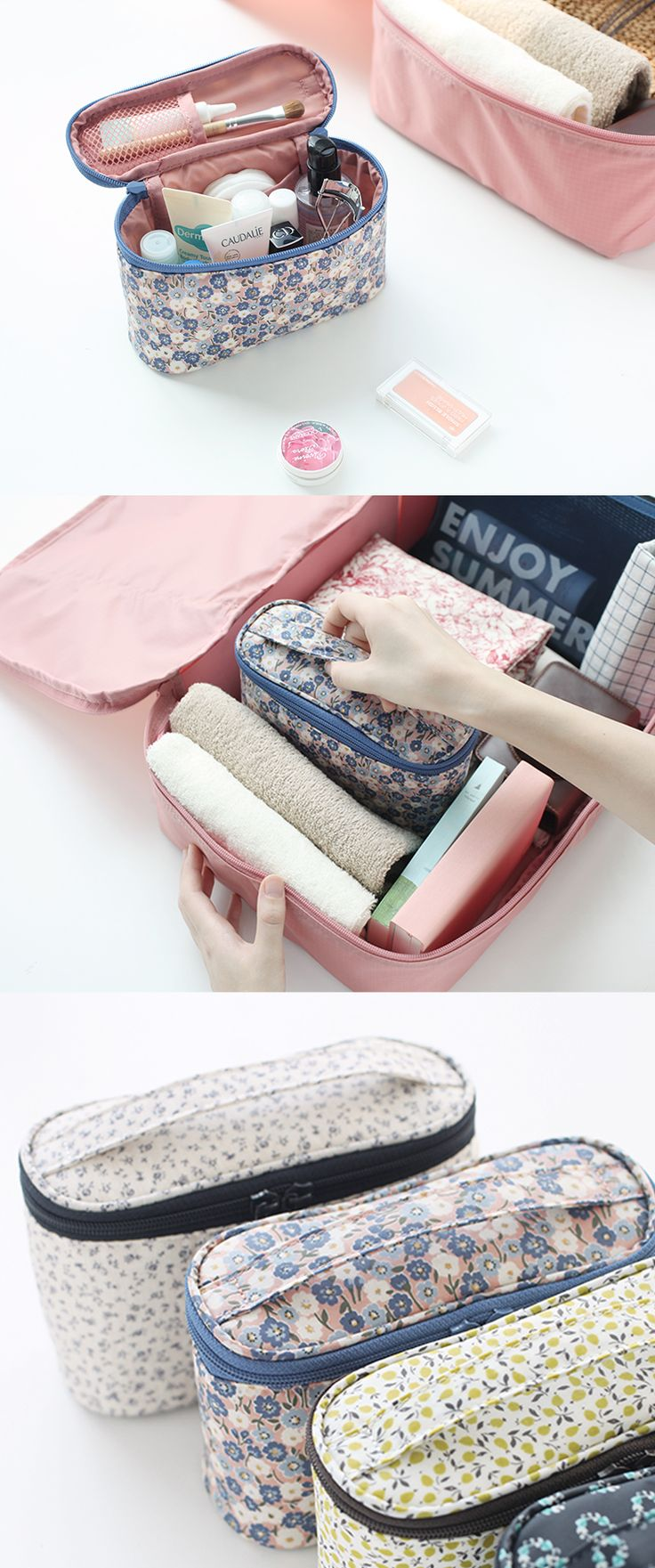 Our most trusted packing hack? Pouches and more pouches! They're the best way to organize your travel essentials! Travel sized toiletries and cosmetics can fit upright in this uniquely shaped Warm Breeze Cosmetic Pouch. It features 1 main zippered compartment that's lightly padded. Inside, you'll find 2 mesh pockets perfect for makeup, brushes, lip balm, and other small items. The exterior has a water resistant coating for extra protection! This pouch is both practical and cute, so check it…