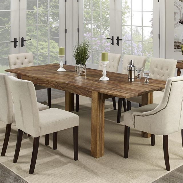 The Jeeva dining table from !nspire is a showroom piece. Keep the accents around it neutral and let the natural wood grain stand out for an elegant look. Enjoy!     http://worldwidehomefurnishingsinc.com/jeeva-dining-table-in-dark-sheesham.html