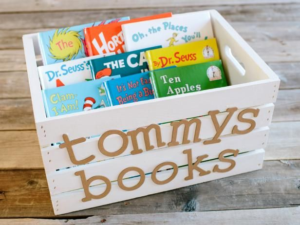 DIY Network shows you how to turn a plain wood crate into storage for children's books and toys.