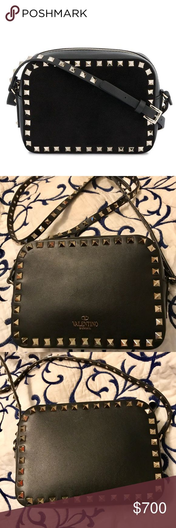 Valentino Garavani rockstud crossbody bag Small black leather crossbody bag with signature gold hardware. 💯 authentic and like new condition. Comes with care card and replacement studs. No dust bag included Valentino Garavani Bags Crossbody Bags