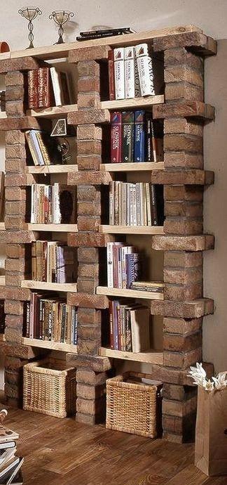 librero ladrillos decorar                                                                                                                                                                                 Más