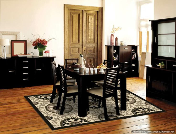 black themed dining room design with this orian rugs http