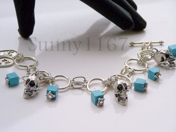 Art beads Traditional Skull Turquoise Love Heart by Sunny1167, €24.99