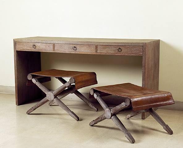 Bancos de madera con piel vintage con mucho estilo - Bancos estilo vintage ...