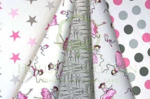 GIrly cotton fabric set with dancers, dots and stars in white, gray and pink / Zestaw dziewczęcy z baletnicami