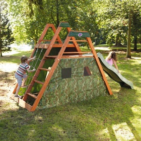 perfect 2 frame climber with slide, ladder, climbing rope and holds PLUS a fort all in one! time for Toff to start building summer toys for the yard