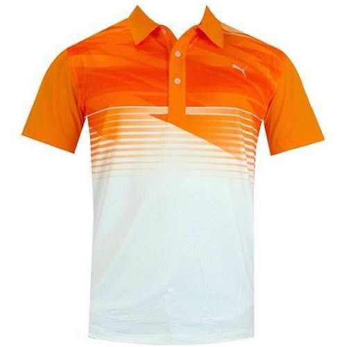 Puma men 39 s golf indigital polo shirt vibrant orange ebay for Mens puma golf shirts