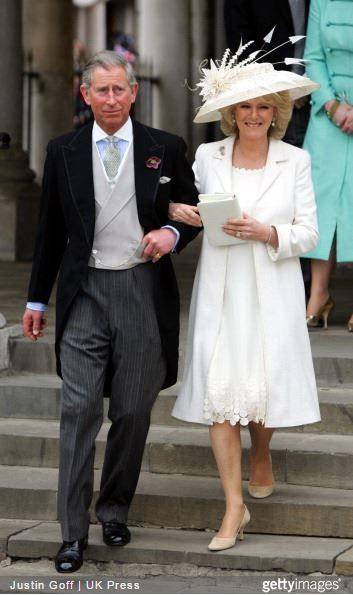 1st dress for the civil service when Camilla Parker Bowles, married Prince Charles on April 9, 2015.  Love the fun hem of the dress
