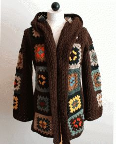 Stay warm in this crochet hooded jacket.