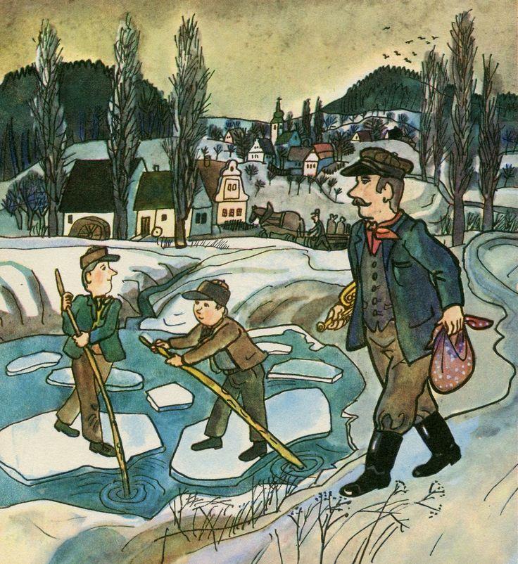 February - Ice floats. Únor – ledové kry.
