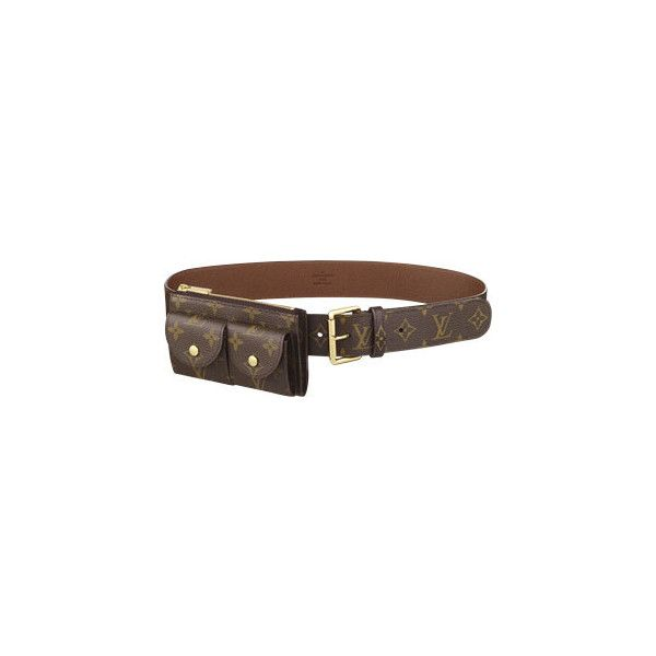 Pochette Duo Belt ($665) ❤ liked on Polyvore featuring accessories, belts, louis vuitton, bags, women, canvas belt, louis vuitton belt, buckle belt and golden belt