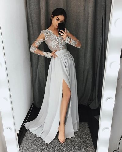 Gray lace A-Line long sleeve prom dress,gray evening dresses from Dress idea