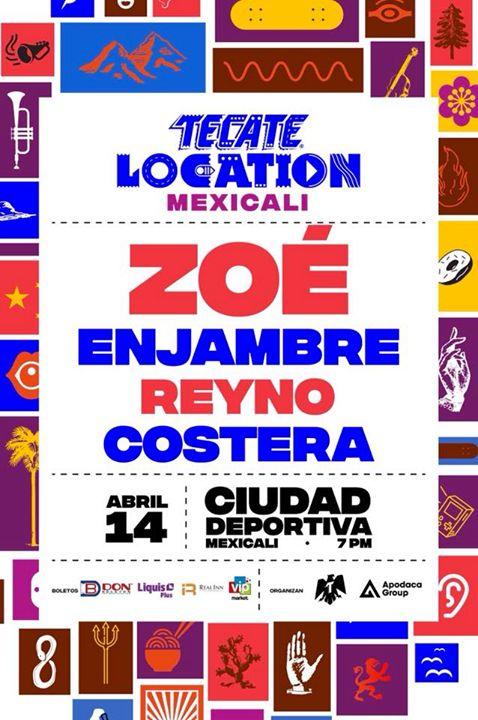 #Mexicali  #TecateLocation regresa a tu ciudad con un nuevo sonido este 14 de abril junto a Zoé Oficial Enjambres Reyno y Costera .  Boletos  a partir del lunes 15 de enero en Don Boleton y sus puntos de venta.  Precios en fase 1:  General: $450 VIP: $800 Más cargos por servicio.