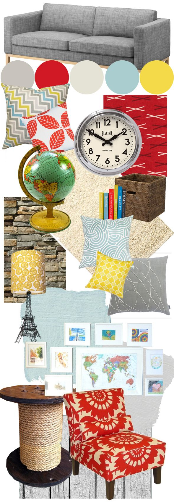 Grey, aqua, yellow, red living room moodboard
