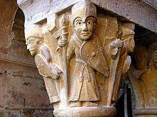 Sculpture sur colonne, art Roman. Fait partie de l'Abbatiale Saint-Foy de Conques, c'est l'un des chapiteaux du cloître. Date environ du XIème Siècle.