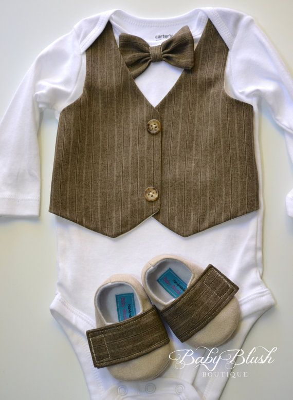 c37697fcec3b Brown Vest Onesie Bow tie Baby Boy Outfit Photo Prop Matching Shoes ...