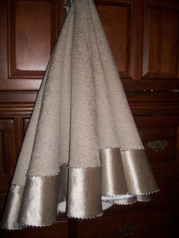Stunning Silver Luxurious Velvet And Satin Christmas Tree Skirt 2014 Collection