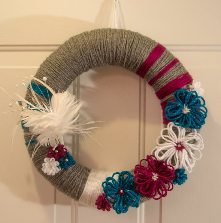 """14"""" Handmade Summer/Fall Wreath Grey, Magenta Pink, Teal Blue, and White with Feather Embellishment Yarn Wrapped with Flowers by TheQuillery on Etsy"""