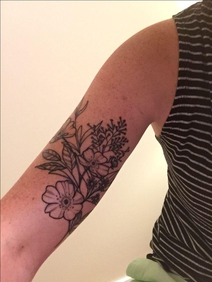 Wildflower tattoo by Alex Gregory #lilac #heatheraster #wildrose #fieldthistle #womenstattoo #armtattoo #blackandwhite