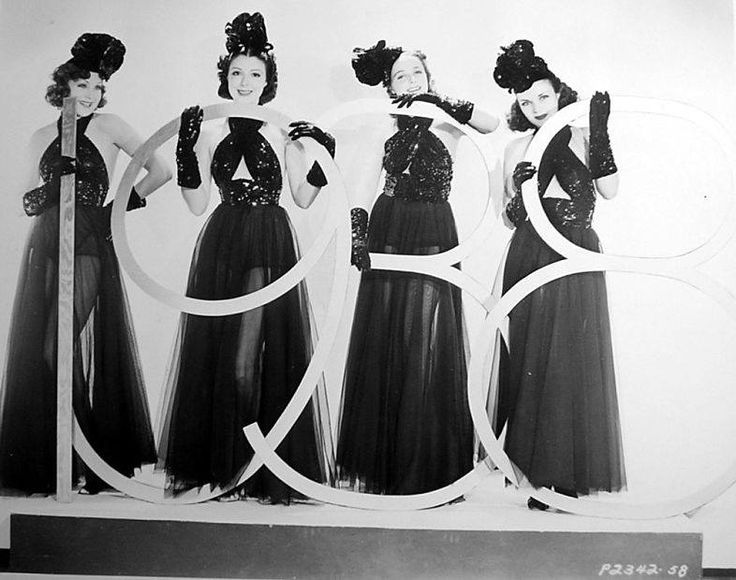 1938  Paramount starlets ring in the new year: Ginger Manners, Dorothy Howe (later known as Virginia Vale), Laraine Johnson (later Laraine Day) and Dolores Casey