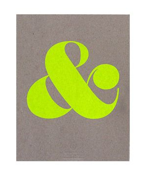 Affordable Art: Ampersand Screen Print  Simple and fun, this bold neon symbol printed atop heavy cardstock would add a playful touch to a kitchen or home office.