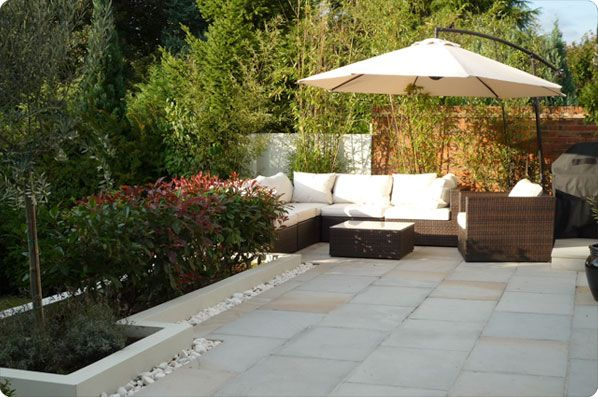 Marshalls Indian Sandstone 'Silver Birch', laid in a simple style.