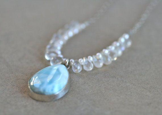 Larimar and Moonstone Gemstone Handmade Sterling Silver Necklace