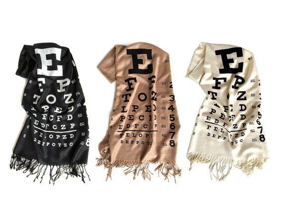 Eye Chart scarf. Linen weave pashmina, silkscreen print. Black, cream, sandy beige scarf & more. Perfect optometrist, eye doctor gift.