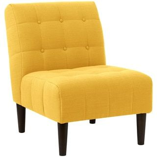 Shop For Angelo:HOME French Yellow/ Espresso Linen/ Polyester Button Tufted  Accent · Furniture OutletOnline Furniture StoresBright ...