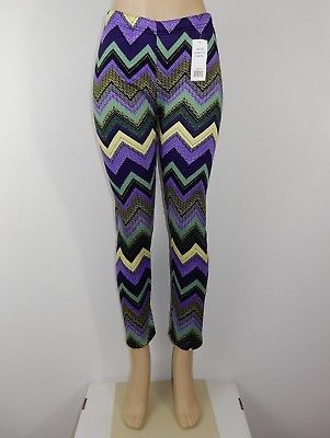 Just Cozy Size 12-20 Mink Fur Lined Low Rise Purple Green Leggings Spandex Pants