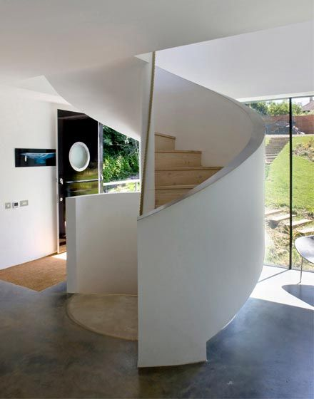 Welch House, The Manser Practice #spiral #staircase #modern #domestic #timber #elegant #minimal #minimalist #white #curvy #design