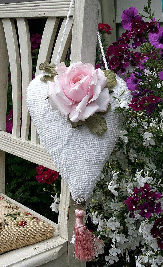 Romantic Chenille Heart Rose Hanging Sachet