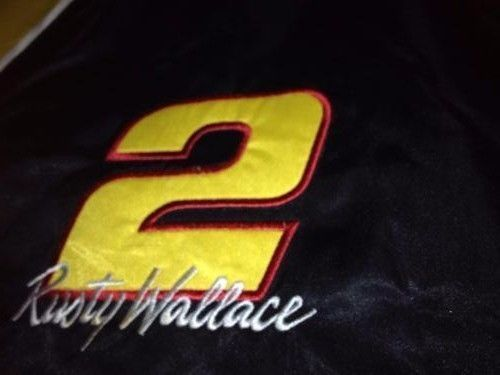 NASCAR NUTMEG Rusty Wallace #2 Quilt Lined Jacket MultiColored Coat Sz Large #Nutmeg