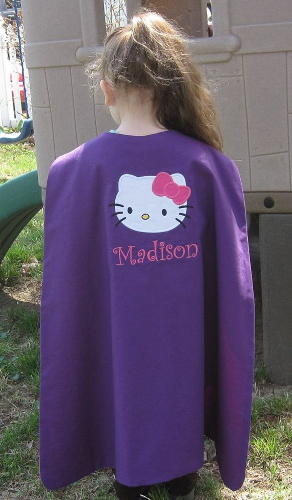 Girls Super Hero Cape Appliqued Kitty Hello by HappyCatBoutique, $25.00