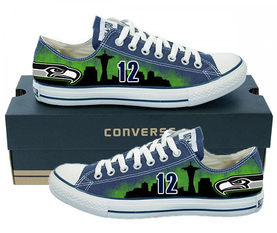 Painted Converse Low Sneakers. Seattle Seahawks. Hawks. Football. Superbowl.12th man. Handpainted shoes. Love the team? Bring the team with
