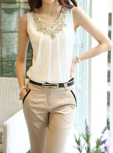 $7.94 Stylish Women's Scoop Neck Sequined Chiffon Top