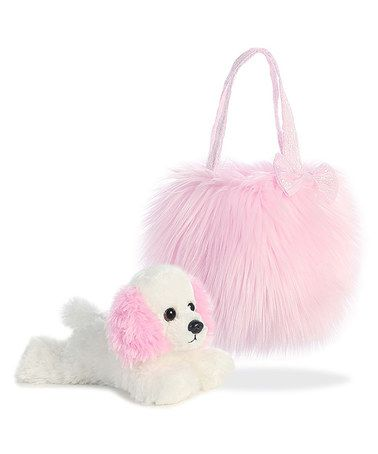 Look what I found on #zulily! White Puppy Plush Toy & Pink Fluffy Carrying Case #zulilyfinds