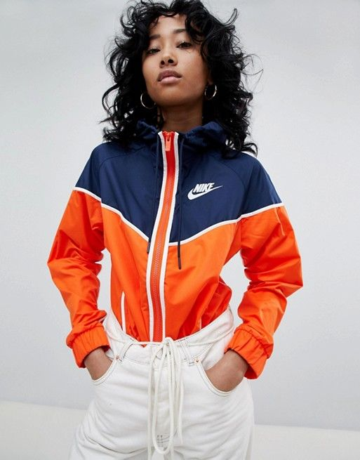 a7ca22ad08cb Nike Colour Block Wind Breaker Jacket In Orange And Navy in 2019 ...