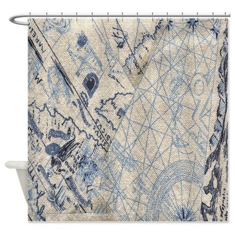 17 best guest room images on pinterest travel world maps and home nautical map shower curtain sciox Gallery